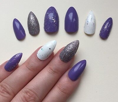Hand Painted False Nails STILETTO Full Cover Purple Silver. NEW COLOUR. UK