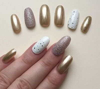 Hand Painted False Nails. ROUND OVAL Full Cover Glitter Gold Bronze - UK