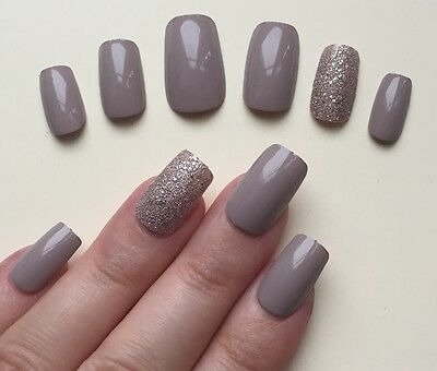 Hand Painted False Nails. Square Short Full Cover Gloss Almond Nude Bronze UK