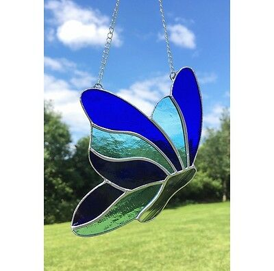 Handmade Stained Glass Butterfly Suncatcher Tiffany Glass, Blue Glass Gift