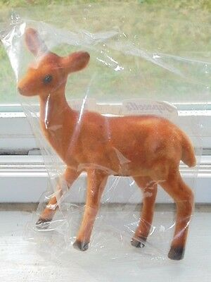 "Flocked Felt Deer Christmas Holiday Decor 5.5"" Tall Crafts NEW Home"