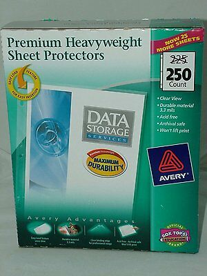 250 Avery Sheet Page Protectors Clear Heavy Duty 8.5 x 11 Top Load Documents