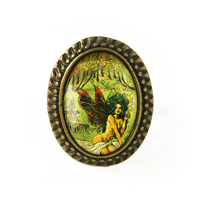 Green Absinthe Fairy Girl Victorian Gothic Art Nouveau Antique Bronze Glass Ring