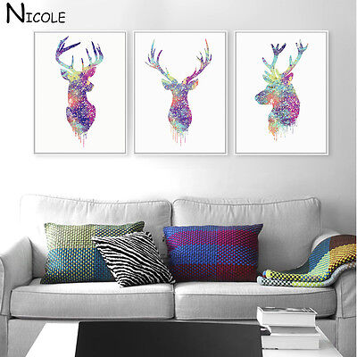 Deer Head Animal Minimalist Canvas Poster Watercolor Painting Modern Decor FA36A