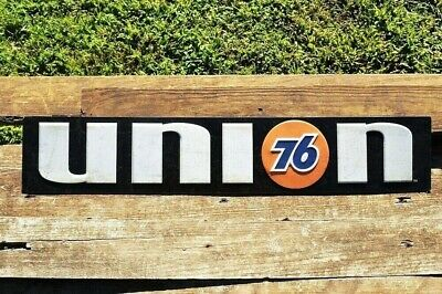 """Union 76 Gasoline Embossed Tin Metal Sign - Phillips 66 - Gas & Oil - 27"""" x 5"""""""