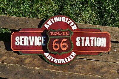 Route 66 Authorized Service Station Embossed Tin Metal Sign - The Mother Road