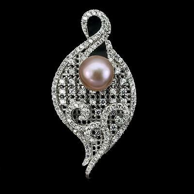 New Design Creamy Pink Pearl, White Cz, 925 Sterling Silver Ring & Pendant Set