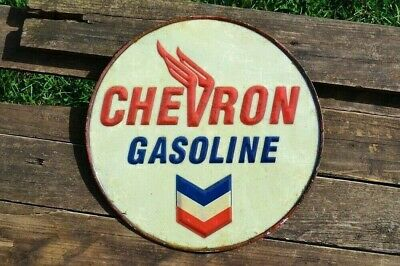 Chevron Gasoline Embossed Tin Metal Sign - Gas - Standard Oil Company - Gulf