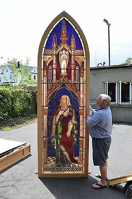 + Beautiful Older Figural Stained Glass Church Window in Frame + Mary + (DM#2)