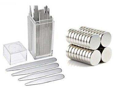 40 Metal Collar Stays + 10 magnets for Men Shirts 4 Various Sizes In Clear Box
