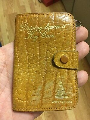 "Vintage Brown Leather ""Great Yarmouth"" 6 Ring Driving License & Key Case RARE!!"