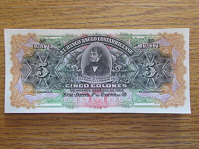 1916 Costa Rica 5 Colon Bank Note Central America Bill Paper Money Series A