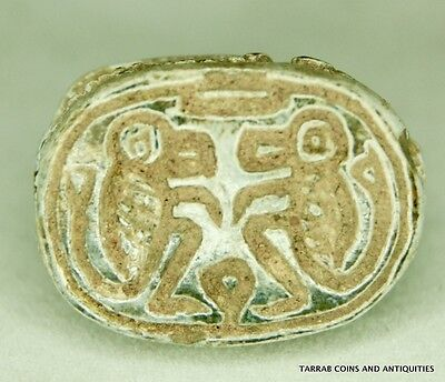 Ancient Egyptian Scarab Depicting Two Baboons On Rising Sun 1550-1070 Bc! Scarce