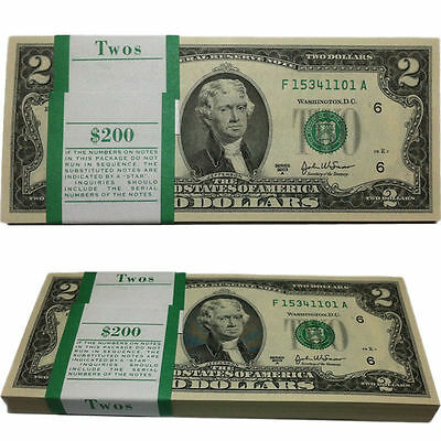 United States $2 Two Dollar Bill, Lightly Circulated USA Currency Note