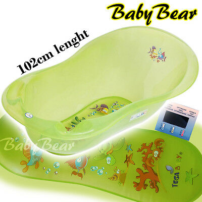 AQUA LUX  Large Baby Bath Tub with thermometer - 102 cm - GREEN