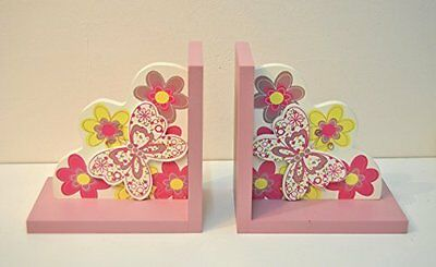 Baby Nursery Kids Pink Butterfly Wooden Bookends BedRoom
