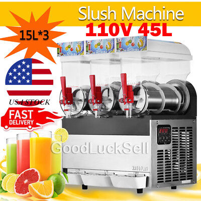 45L Commercial 110V Slush Making Machine 3 Tank Snow Frozen Drink Smoothie Maker
