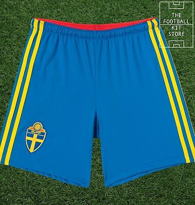Sweden Home Shorts - Official Adidas Boys Football Shorts - All Sizes