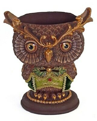 28-628315 Katherine's Collection Owl Vase Christmas Table Decoration Brown Gold