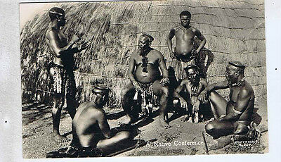 Native Conference Ethnic South Africa Original Old Real Photo Postcard Qp