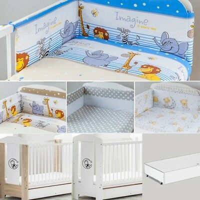 Bear Moon Baby Cot With Container + Mattress + 6-Pcs Nersery Bedding Set 7 Col.
