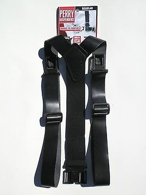 """1 3/8"""" Black Leather Suspenders - Perry Clips (See Details)"""