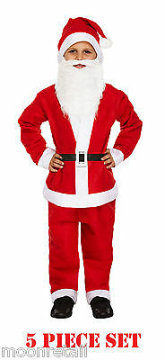 Father Christmas Santa Claus Suit Beard Costume Outfit Boys Childrens Kids S M L