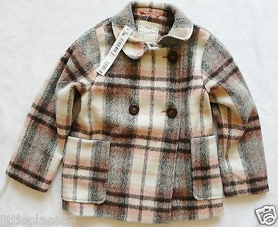 BNWT NEXT £36 Girls winter duffle coat  pink grey check wool mix Signature 5-6 y