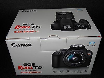 NEW Canon EOS Rebel T6 DSLR Camera Kit with EF-S 18-55mm f/3.5-5.6 IS Lens + Bag