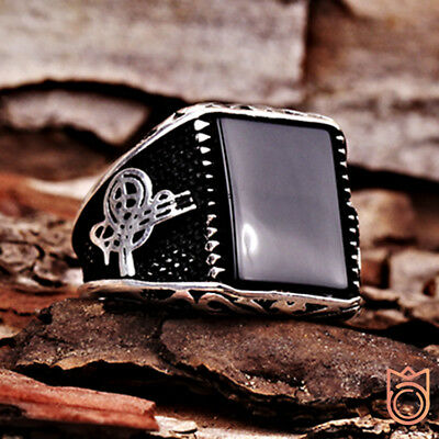 EXCLUSIVE !! Handmade Men's Ring with Onyx Stone 925k Sterling Silver All Sizes