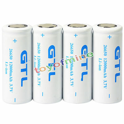 2/1 x 26650 3.7V 12000mAh Rechargeable Li-ion Battery For Flashlight Torch