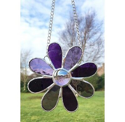 Handmade Stained Glass Daisy Flower Suncatcher Purple Glass Decoration Gift