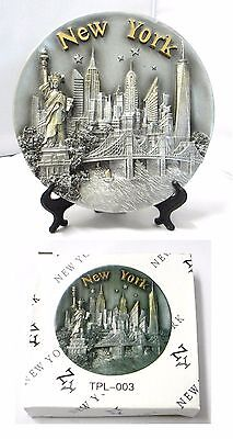 "New York Souvenir 3D Engraved Poly Resin Plate Large 8""D Silver"