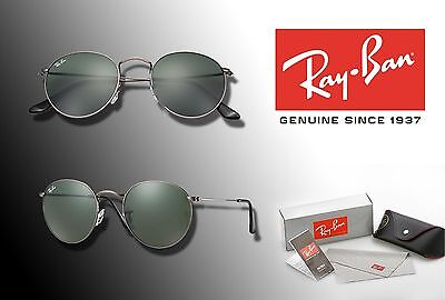 NEW Ray-Ban 50mm ROUND METAL Silver Frame / Green Lens SUNGLASSES