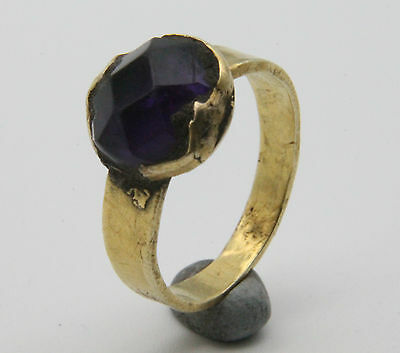Medieval Period Decorated Gold Ring with Violet Gemstone Bezel 800-1100 AD