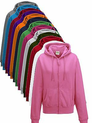 Girls Ladies Womens Plain Zip Up Zipper Hoodie Hoody Hooded Sweat Jumper Jacket