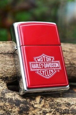 Zippo Lighter - Harley Davidson - Bar and Shield - Red Anodized -  # 685HD H263