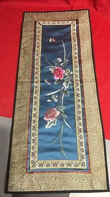 Vintage Oriental Silk Embroidery Wall Art Tapestry