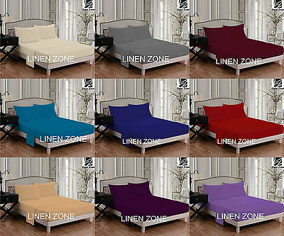 Percale Quality Plain Flat Bed Sheet Pillow Cases Single Double King Super King