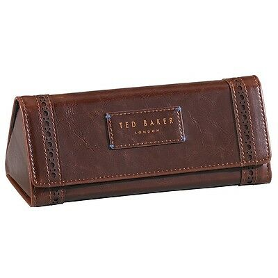 New Mens Ted Baker Brogue Walnut Brown Glasses Case Present Xmas Gift Christmas