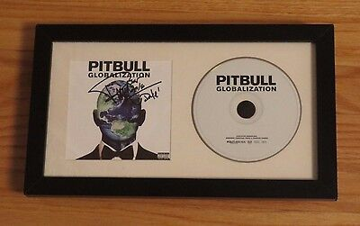Pitbull Signed Autographed Globalization CD Booklet Framed Autograph