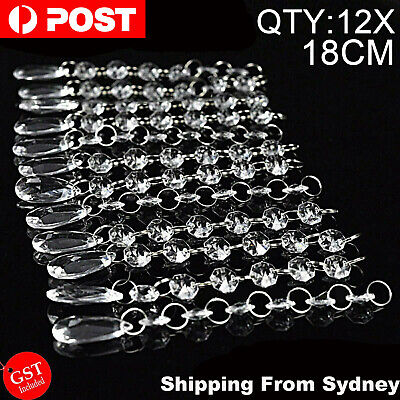 12X 18cm Acrylic Crystal Bead Droplet Wedding DIY Hanging Strand Drop Chandelier