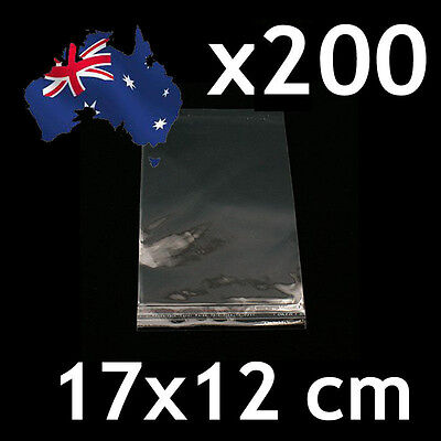 200pcs Self Adhesive Self Seal Cellophane Resealable Clear Plastic Bags 12x17cm