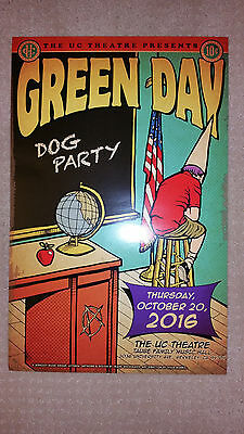 Green Day Dog Party Poster Uc Theater 10/20/16 Berkeley