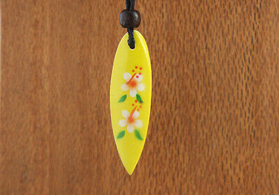 Painted Wood Surfboard Necklace Yellow White Flower Girls Womens Frangipani New