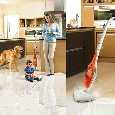 1500W 12 in 1 Foldable Steam Mop Handheld Steamer Floor Carpet Cleaner Washer