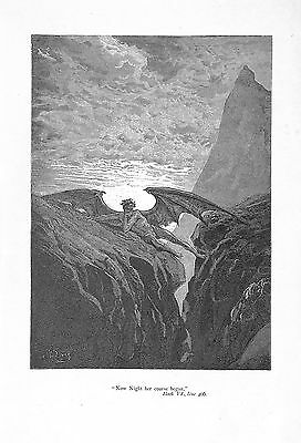 Satan.Gustave Dore.Retires.Night.1894.Milton's Paradise Lost.Darkness.Antique