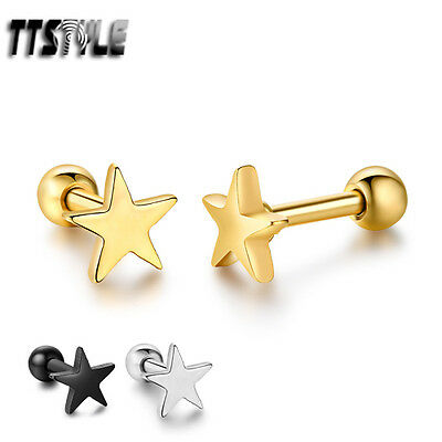 TTstyle Surgical Steel 5.5mm Star Fake Ear Cartilage Tragus Earrings 3 Colors
