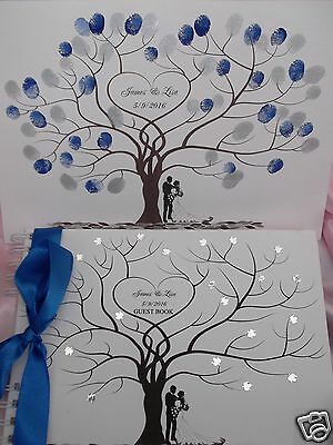 Wedding FINGERPRINT Tree and MATCHING PERSONALISED WEDDING GUEST BOOK ~ BOXED