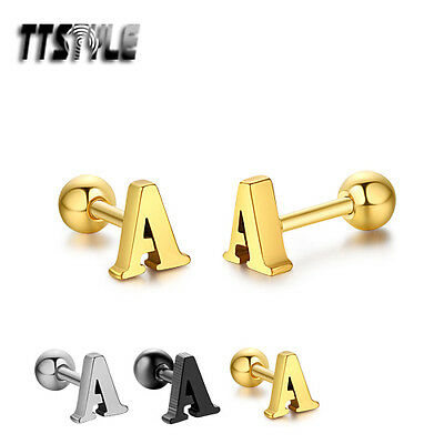 TTstyle Surgical Steel Letter A Fake Ear Cartilage Tragus Earrings 3 Colours NEW
